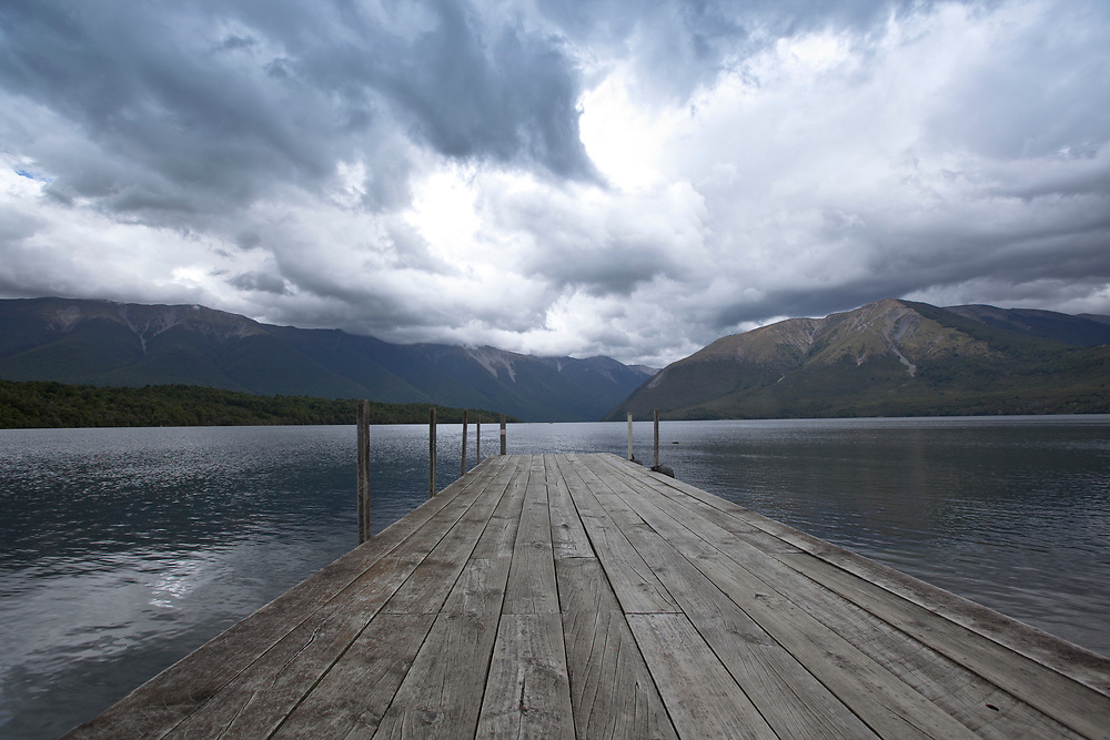 View over Lake Rotoiti situated near <br /> Saint Arnaud  a small alpine village in the Tasman district of New Zealand's South Island.