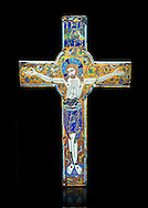 Medieval enamelled crucifix, end of the 12th century from Limoges, enamel on gold. AD. Inv OA 7284, The Louvre Museum, Paris. .<br /> <br /> If you prefer you can also buy from our ALAMY PHOTO LIBRARY Collection visit : https://www.alamy.com/portfolio/paul-williams-funkystock/limoges-enamel-antiquities.html Type - louvre - into the LOWER SEARCH WITHIN GALLERY box. <br /> <br /> Visit our MEDIEVAL ART PHOTO COLLECTIONS for more photos to download or buy as prints https://funkystock.photoshelter.com/gallery-collection/Medieval-Gothic-Art-Antiquities-Historic-Sites-Pictures-Images-of/C0000gZ8POl_DCqE