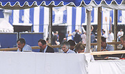 Henley on Thames,  United Kingdom, Press Bos [Writers][L] Jim RAILTON, [C] XXXX [R] Christopher DODD,1988 Henley Royal Regatta, Henley Reach, Thames Valley, British Summertime.<br /> [Mandatory Credit, Peter SPURRIER/Intersport Images] <br /> <br /> Scans from Positives, April 2019