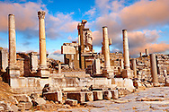 The Memmius Monument was built in the 1st century B.C. to honour Mmmius, the grandson of Emperor Sulla and son of Caicus whose sculptures can be seen on the monument. Ephesus Archaeological Site, Anatolia, Turkey.