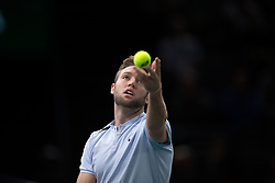 Jack Sock of the United States of America during his first round match against Lucas Pouille of France during day four of the Rolex Paris Masters at the Accor Hotels Arena on November 2, 2017 in Paris, France. Photo by Yann Bohac/ANDBZ/ABACAPRESS.COM