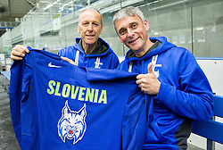 Drago Terlikar and Milan Dragan during practice session of Slovenian Ice Hockey National Team at Day 4 of 2015 IIHF World Championship, on May 4, 2015 in Practice arena Vitkovice, Ostrava, Czech Republic. Photo by Vid Ponikvar / Sportida