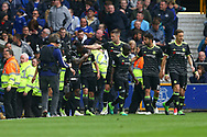 Pedro of Chelsea (2l) celebrates with his teammates after scoring his teams 1st goal. Premier league match, Everton v Chelsea at Goodison Park in Liverpool, Merseyside on Sunday 30th April 2017.<br /> pic by Chris Stading, Andrew Orchard sports photography.