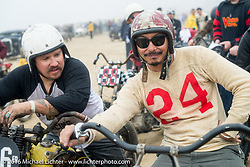 Jeremiah Armenta (left) and Go Takamine of Japah at TROG West - The Race of Gentlemen. Pismo Beach, CA, USA. Saturday October 15, 2016. Photography ©2016 Michael Lichter.
