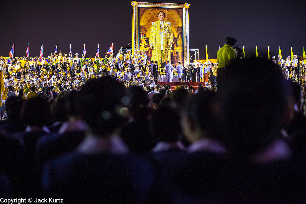 05 DECEMBER 2012 - BANGKOK, THAILAND:  Thai government officials and business leaders leave birthday wishes for the King during the public ceremony to celebrate the birthday of Bhumibol Adulyadej, the King of Thailand, on Sanam Luang, a vast public space in front of the Grand Palace in Bangkok Wednesday night. The King celebrated his 85th birthday Wednesday and hundreds of thousands of Thais attended the day long celebration around the Grand Palace and the Royal Plaza, north of the Palace. The Thai monarch is revered by most Thais as unifying force in Thailand's society, which is not yet recovered from the political violence of 2010.     PHOTO BY JACK KURTZ