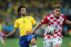 Marcelo na partida entre Brasil x Croácia, na abertura da Copa do Mundo 2014, no Estádio Arena Corinthians, em São Paulo. FOTO: Jefferson Bernardes/ Agência Preview