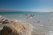 Dead Sea, Israel view east into the drying sea
