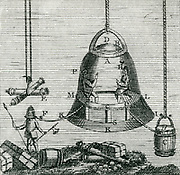 'Diving bell invented by Edmond Halley (1656-1743) being used in salvage operation.   Barrel, C,  reservoir of air connected by tube to bell. Diver, F,  wears helmet connected to bell by tube. Engraving 1782.'