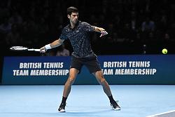 LONDON, ENGLAND - NOVEMBER 2018: Novak Djokovic of Serbia serves at the Nitto ATP Finals at The O2 Arena in November 2018 in London, England CAP/GOL/EL ©GOL/Capital Pictures. 12 Nov 2018 Pictured: Novak Djokovic. Photo credit: EL/GOL/Capital Pictures / MEGA TheMegaAgency.com +1 888 505 6342