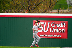 15 April 2006: Bradley Centerfielder Paul Rice grabs a long ball at the wall.  Bradley University Braves are defeated in game one of a double header against the Illinois State University Redbird at Redbird Field in Normal IL.