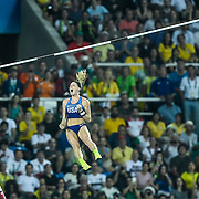 Sandi Morris of the United States reacted after missing her final attempt on the women's pole vault and earned a silver medal in the women's pole vaulton Friday at Olympic Stadium during the 2016 Summer Olympics Games in Rio de Janeiro, Brazil.