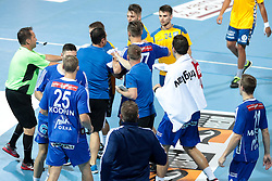 Players roughing during handball match between RK Celje Pivovarna Lasko and RD Koper 2013 of Super Cup 2016, on August 27, 2016 in SRC Marina, Portoroz / Portorose, Slovenia. Photo by Matic Klansek Velej / Sportida