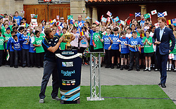 © Licensed to London News Pictures. 10/06/2015. <br /> LONDON, UK. HRH Prince Harry, Jonny Wilkinson (C), Will Greenwood and local school children launch the 100 days to go until the Rugby World Cup 2015 at Twickenham Stadium with the Web Ellis Cup, London, Wednesday 10 June 2015. Photo credit : Hannah McKay/LNP