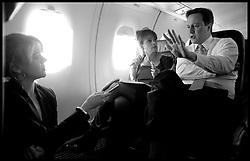 Conservative Party leader David Cameron on his Election Campaign plane flying from Norwich to Plymouth on day three of his General Election Campaign, Thursday April 8, 2010. Photo By Andrew Parsons / i-Images.
