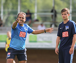 04.08.2014, Athletic Area, Schladming, AUT, Hertha BSC, im Bild Jos Luhukay (Hertha BSC, Trainer) und Valentin Stocker (Hertha BSC, #14) // during a training session of the German Bundesliga Club Hertha BSC at the Athletic Area, Austria on 2014/08/04. EXPA Pictures © 2014, PhotoCredit: EXPA/ Martin Huber