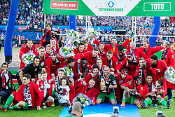 Karim El Ahmadi of Feyenoord, Jean-Paul Boetius of Feyenoord,  Steven Berghuis of Feyenoord, Robin van Persie of Feyenoord, Robin van Persie of Feyenoord, Nicolai Jorgensen of Feyenoord, Sam Larsson of Feyenoord, Tonny Vilhena of Feyenoord, Jeremiah St. Juste of Feyenoord, cup, trophy, coach Giovanni van Bronckhorst during the Dutch Toto KNVB Cup Final match between AZ Alkmaar and Feyenoord on April 22, 2018 at the Kuip stadium in Rotterdam, The Netherlands.