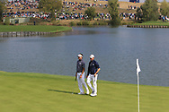 Bubba Watson and Webb Simpson (Team USA) on the 1st green during the Friday Foursomes at the Ryder Cup, Le Golf National, Ile-de-France, France. 28/09/2018.<br /> Picture Thos Caffrey / Golffile.ie<br /> <br /> All photo usage must carry mandatory copyright credit (© Golffile | Thos Caffrey)