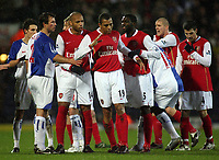 Photo: Paul Thomas.<br /> Blackburn Rovers v Arsenal. The Barclays Premiership. 13/01/2007.<br /> <br /> Arsenal players Thierry Henry (L) and Kolo Toure try to calm down Gilberto Silva (19) after he is sent off.