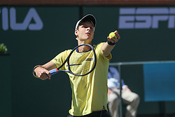 March 15, 2019 - Indian Wells, CA, U.S. - INDIAN WELLS, CA - MARCH 15: Hubert Hurkacz (POL) serves during the BNP Paribas Open on March 15, 2019 at Indian Wells Tennis Garden in Indian Wells, CA. (Photo by George Walker/Icon Sportswire) (Credit Image: © George Walker/Icon SMI via ZUMA Press)