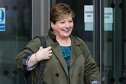 London, October 22 2017. Shadow Foreign Secretary Emily Thornberry leaves the BBC after appearing on the Andrew Marr show at the BBC New Broadcasting House in London. © Paul Davey