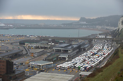© Licensed to London News Pictures. 12/12/2020. <br /> Dover, UK. Freight lorries queue at Dover. Hundreds of lorries continue to queue for a fifth day at the Port of Dover the Channel Tunnel and on the M20 this Saturday afternoon in Kent.The high volume of freight traffic is attributed to the pre-Christmas rush, stockpiling and Coronavirus vaccine delivery. Photo credit:Grant Falvey/LNP