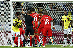 (l-r) Carlos Sanchez of Colombia, referee Mark Geiger, Harry Maguire of England, Ashley Young of England, Jefferson Lerma of Colombia during the 2018 FIFA World Cup Russia round of 16 match between Columbia and England at the Spartak stadium  on July 03, 2018 in Moscow, Russia
