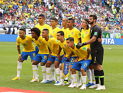 July 2, 2018 - Samara, Russia - July 2, 2018, Russia, Samara, FIFA World Cup 2018, 1/8 finals. Football match of Brazil - Mexico at the stadium Samara - Arena. Players of the national team Brazil (Credit Image: © Russian Look via ZUMA Wire)