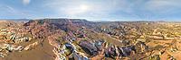 Aerial view of Cappadocia desert valley, Turkey