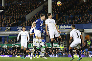 Seamus Coleman of Everton (c) heads the ball to score his teams 1st goal and equalise at 1-1.. Premier league match, Everton v Swansea city at Goodison Park in Liverpool, Merseyside on Saturday 19th November 2016.<br /> pic by Chris Stading, Andrew Orchard sports photography.