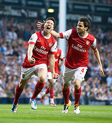20.04.2011, White Hart Lane, London, ENG, PL, Totthenham Hotspurs vs Arsenal FC, im Bild Arsenal's Samir Nasri celebrates scoring the second goal against Tottenham Hotspur with Cesc Fabregas during the Premiership match at White Hart Lane, EXPA Pictures © 2011, PhotoCredit: EXPA/ Propaganda/ D. Rawcliffe *** ATTENTION *** UK OUT!