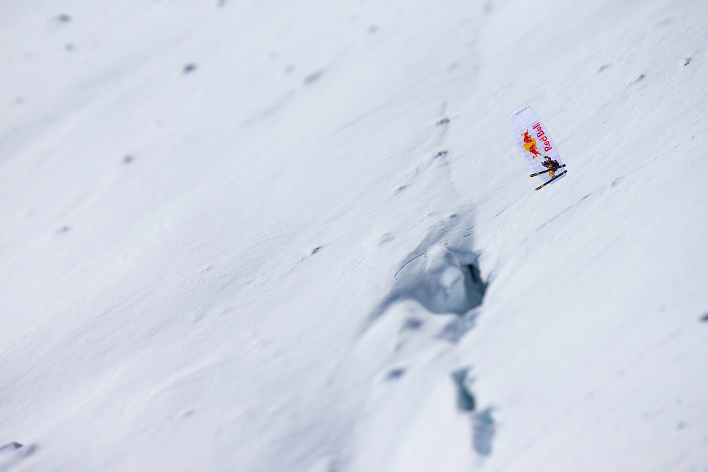 Jon Devore speed rides while filming for the Unrideables in the Tordrillo Mountains near Anchorage, Alaska on April 24th, 2014.
