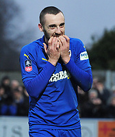 Football - 2018 / 2019 Emirates FA Cup - Fifth Round: AFC Wimbledon vs. Millwall<br /> <br /> Dylan Connolly of Wimbledon bits his fingers after missing a great chance near the end of the match, at the Cherry Red Records Stadium (Kingsmeadow).<br /> <br /> COLORSPORT/ANDREW COWIE