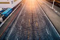 donut tracks on 7th Street near the port of Oakland.