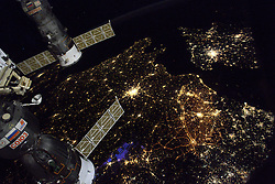 """Hello Paris and France"", as French cosmonaut Thomas Pesquet, takes photos on board International Space Station, on November 28, 2016. Photo by ESA via Balkis Press/ABACAPRESS.COM"