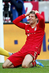 15.10.2011, Allianz Arena, Muenchen, GER, 1.FBL,  FC Bayern vs Hertha BSC Berlin, im Bild  Thomas Mueller (Bayern #25) entauscht ueber seine nicht genutzte chance// during the match FC Bayern vs Hertha BSC Berlin, on 2011/10/15, Allianz Arena, Munich, Germany, EXPA Pictures © 2011, PhotoCredit: EXPA/ nph/  Straubmeier       ****** out of GER / CRO  / BEL ******