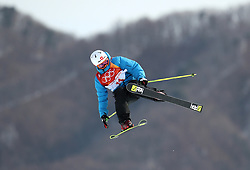 Switzerland's Jonas Hunziker in action during the qualification runs of the Men's Ski Slopestyle at the Bogwang Snow Park during day nine of the PyeongChang 2018 Winter Olympic Games in South Korea. PRESS ASSOCIATION Photo. Picture date: Sunday February 18, 2018. See PA story OLYMPICS Slopestyle. Photo credit should read: Mike Egerton/PA Wire. RESTRICTIONS: Editorial use only. No commercial use.