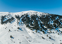 Aerial view of beautiful Mount Erymanthos covered with snow, Greece