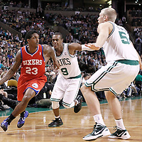 21 May 2012: Philadelphia Sixers point guard Lou Williams (23) drives past Boston Celtics point guard Rajon Rondo (9) during the Boston Celtics 101-85 victory over the Philadelphia Sixer, in Game 5 of the Eastern Conference semifinals playoff series, at the TD Banknorth Garden, Boston, Massachusetts, USA.