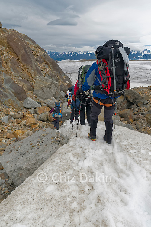 Descending over rubble with occaisional snow patches is the normal descent off the Ice Cap onto the Upper Viedma Glacier