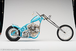 """""""Stardust"""", a blue custom 2015 S&S knucklehead built by Andrew Ursich of Long Beach, CA. Photographed by Michael Lichter during the Easyriders Bike Show in Sacramento, CA on January 8, 2016. ©2016 Michael Lichter."""