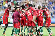 Portuguese players celebrating the winning of the Euro Cup final. Portugal beat home team France at Saint Denis stadium in Paris, after winning on extra-time by 1-0.