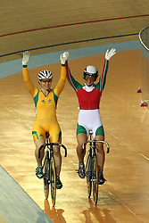 Anna Meares of Australia and Becky Jones of Wales during the women's sprint final held at the velodrome at the Indira Gandhi Sports Complex in New Delhi, India on the 7 October 2010..Photo by:  Ron Gaunt/SPORTZPICS/PHOTOSPORT
