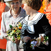 Koningsdag 2014 in de Rijp, het vieren van de verjaardag van de koning. / Kingsday 2014 in the Rijp , celebrating the birthday of the King. <br /> <br /> <br /> Op de foto / On the photo:  Prinses Margiet en Prinses Beatrix  / Princess Margiet and Princess Beatrix