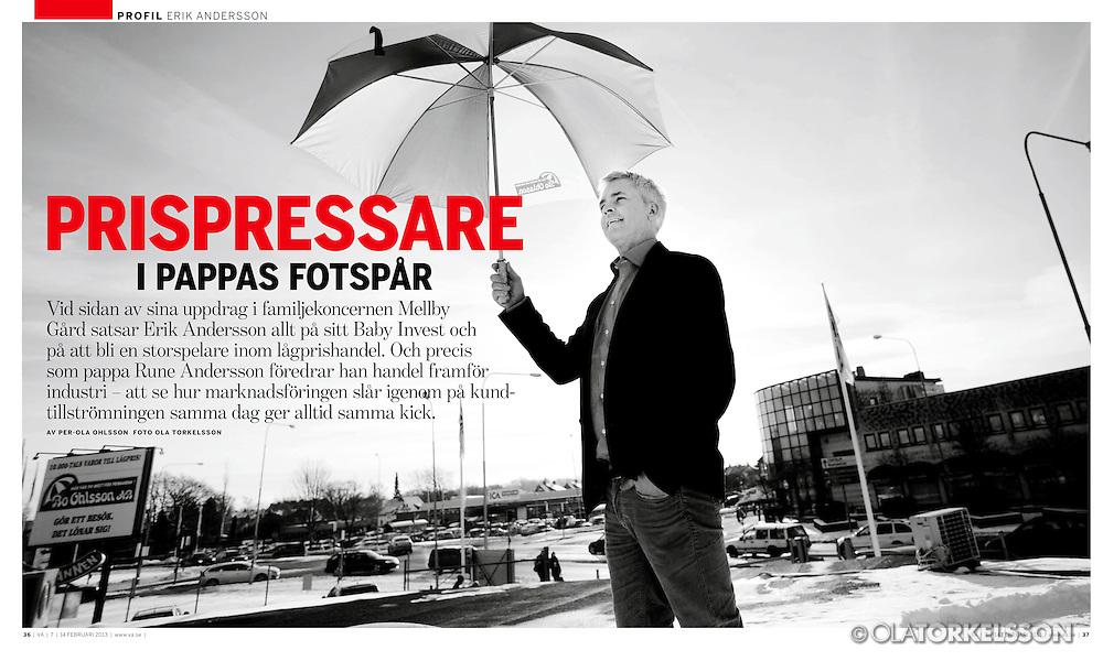 "Tear-sheet from Swedish magazine ""Veckans Affärer"". Main story about entrepreneur Erik Andersson."