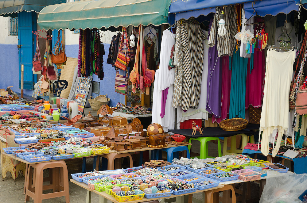 A stall with clothing in Asilah's medina Morocco