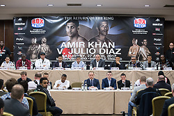 © Licensed to London News Pictures . 25/04/2013 . Sheffield , UK . Final press conference in advance of Amir Khan vs Julio Diaz boxing bout , today (Thursday 25th April 2013) at the Mercure Hotel in Sheffield City Centre ahead of the fight on April 27th at the Motorpoint Arena in Sheffield . Photo credit : Joel Goodman/LNP