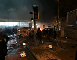 Forensic officers work at the site where a car bomb exploded near the stadium of football club Besiktas in central Istanbul, Turkey, on December 10, 2016. Thirty eight people, mainly police, were killed and wounded 155 more, in Istanbul on Saturday when twin bombings struck the heart of the city close to the stadium of top flight football giants Besiktas after a major game. Photo by Depo Photos/ABACAPRESS.COM