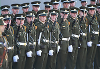 Members of the Irish Defence Forces Honour Guard  from the Cadet School of the Military College pictured on Dublin's O Connell Street, before the start of The 100th Anniversary of the Easter Rising parade. Picture Credit : Frank Mc Grath<br /> 27/3/16