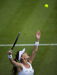 LONDON, July 5, 2017  Agnieszka Radwanska of Poland serves during the women's singles first round match against Jelena Jankovic of Serbia at the Championship Wimbledon 2017 in London, Britain, on July 4, 2017. Radwanska won 2-0. (Credit Image: © Jin Yu/Xinhua via ZUMA Wire)