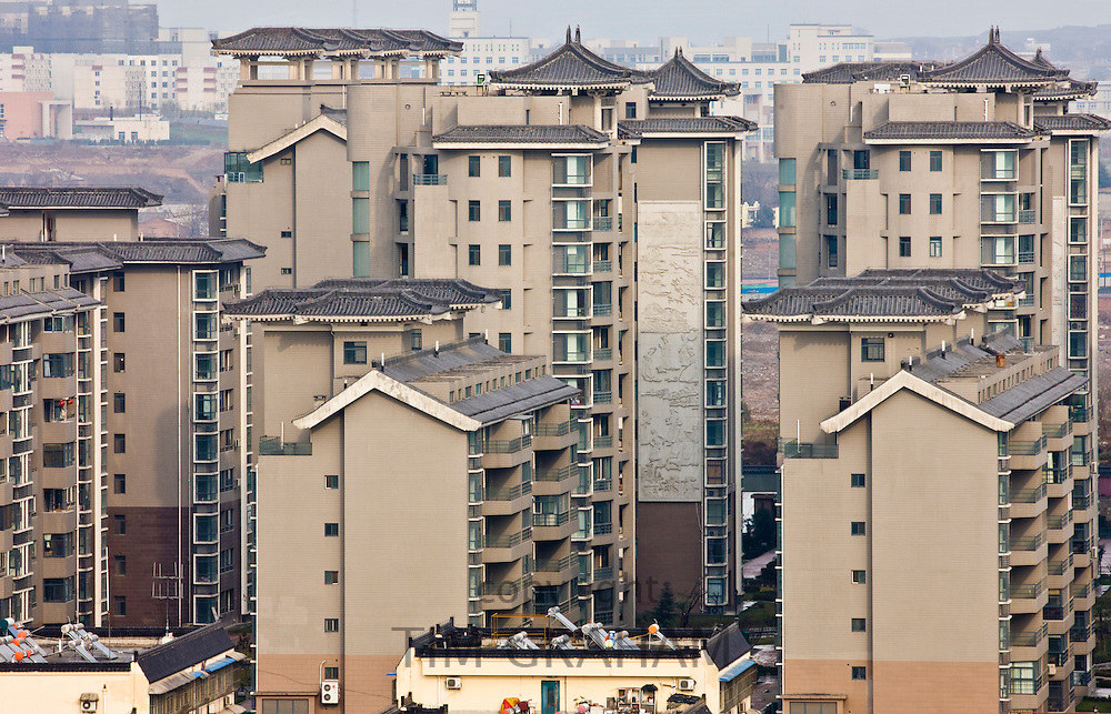 View of apartment blocks in Xian seen from the Dayan Pagoda, China